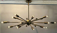 MID CENTURY MODERN BRASS SPUTNIK ATOMIC CHANDELIER STARBURST LIGHT 24ARM BULB