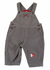 JACADI Boy's Algue Gray / Red Detailed Cotton Overalls Age 6 Months NWT $58