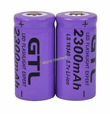 2x 3.7V CR123A 123A CR123 16340 2300mAh Purple GTL Rechargeable Battery Cell USA