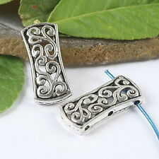 6pcs Tibetan silver 3 hole ornate cover spacer h1032