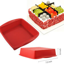 Red Food Grade Silicone Square Bread Cake Mold Lasagna Baking Pan (7.3×1.6 inch)