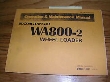 Komatsu WA800-2 OPERATION MAINTENANCE MANUAL WHEEL LOADER OPERATOR GUIDE BOOK