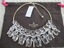 NWT Auth Kate Spade Vegas Jewels Clear Faceted Stone Bib Statement Necklace $398
