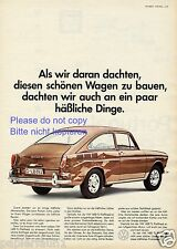 VW 1600 TL Fließheck Reklame von 1966 Unfall braun Werbung ad