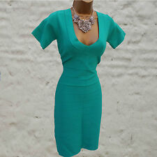 REISS Green BANDAGE SICILIAN KNIT BODYCON COCKTAIL V Neck DRESS LARGE UK 14