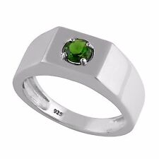 925 Sterling Silver Natural Chrome Diopside Solitaire Men's Ring