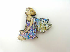 FLOWER FAIRIES THE FORGET ME NOT FAIRY COLOURFUL WOODEN BROOCH PIN BLUE FLOWER