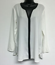 ANN TAYLOR White Black Chiffon Shirt Top Blouse Sheer V Neck Long Sleeve M