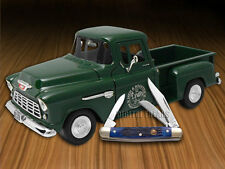 HEN & ROOSTER 1955 Chevy 5100 Truck and Blue Stockman Pocket Knife Stainless Set