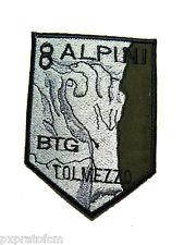 Patch 8 Alpini Btg. Tolmezzo Esercito Italiano Verde Toppa per Mimetica Vegetata
