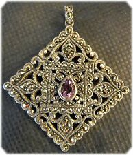 """Stunning Silver Marquisette & Amethyst Silver Pendant 1 1/4"""" Square 925 Thailand"""