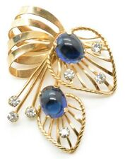 Vintage Van Dell Brooch 1/20 12k Gold Filled Pin Brooch Pendant Sapphire Cabs