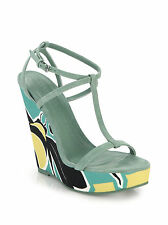 £425 BURBERRY PRORSUM SMOKEY GREEN PLATFORM WEDGES SANDALS 39.5 US 8.5 UK 6.5