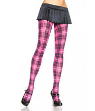 PINK TARTAN PLAID TIGHTS BURLESQUE PANTYHOSE LEG AVENUE WOVEN 7552