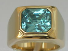 11 X 9 mm March Aqua Marine Birthstone Men's Solitaire Jewelry Ring Size 10