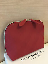 Burberry Beauty Red Medium Cosmetic Makeup Bag Pouch Clutch Brand New in Box