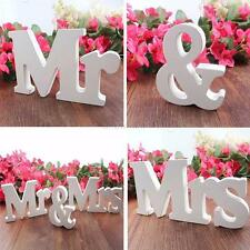 Vogue Wedding Reception Sign White Wood Letters Mr & Mrs Table Centrepiece Decor