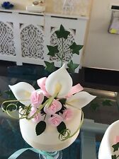 WEDDING CAKE SUGAR LILIES IVY & ROSES IN PINK & WHITE MOST COLOURS AVAILABLE A1