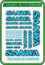 SANWA RC RADIO CONTROL STICKERS MT4 M12 SERVO RX TX CAR BUGGY NITRO LIGHT BLUE B