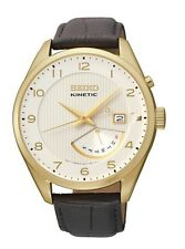 New Seiko SRN052 Kinetic Gold Tone Day/Date Leather Strap Men's Watch