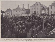 1908  --  SAINT PIERRE MIQUELON  FOULE POUR REOUVERTURE ECOLE LIBRE   3F811