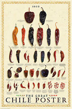 THE GREAT CHILE POSTER MARK MILLER dried chili pepper kitchen seco art print