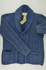 Ralph Lauren Denim&Supply Washed Denim Blue Cabled Shawl Cardigan-MENS- XS