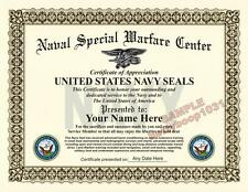 US NAVY SEAL Certificate - CUSTOM W/ YOUR NAME & DATE Military USA Diploma USA