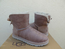 UGG SEAL MINI BAILEY BOW SHINY REPTILE SHEEPSKIN BOOTS, US 7/ EUR 38  ~NEW
