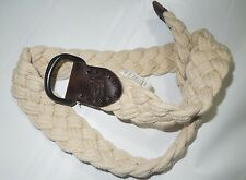 ABERCROMBIE & Fitch khaki braided cotton & Leather BELT  size 36 retail $50
