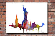 New York City Skyline Statue of Liberty Painting Art Print by Artist DJ Rogers