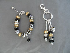 European black, white and gold murano bead bracelet and triple key chain