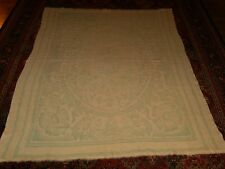 Antique Vtg Woven Wool Reversible Blanket w/ Floral Design Cream Mint Green