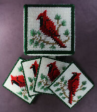 RED CARDINAL 4 COASTER BOX SET Home Decor Plastic Canvas Yarn Bird Cabin Rustic