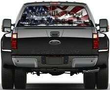 American Flag 9/11 In God We Trust Prairie Gold Stone Rear Window Graphic Decal
