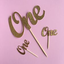 ONE Gold Glitter CAKE +CUPCAKE Toppers 1st Birthday Party cake Smash decoration