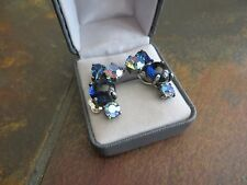 SCHIAPARELLI VINTAGE MIDNIGHT BLUE GLASS w/Multi-colors RHINESTONE CLIP EARRINGS