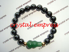 Feng Shui - Magnetic Hematite with Green Aventurine Wu Lou Kids Bracelet