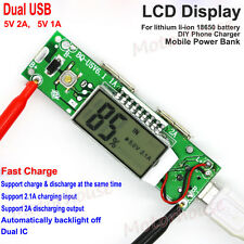 5V 2A Dual USB LCD USB Fast Charging Li-ion 18650 Lithium Charger Power Bank DIY