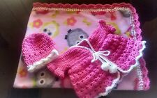 NEW ITEM!Handmade crochet baby blanket,girls set.45x32 &, includes all in pic.