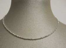 stunning twinkling white gold 14 K faceted bead necklace length 18''