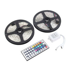 10M 2x5M 3528 Waterproof SMD RGB 600LEDs LED Light Strip Lamp 44Key IR remote BY