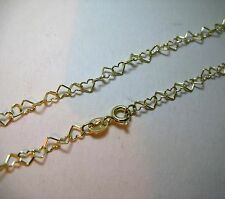 "10"" 9ct gold heart shaped anklet chain 1.7g"