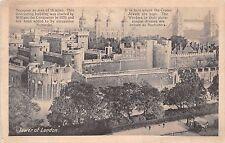 LONDON UK TOWER OF LONDON~DESCRIPTIVE DETAILS POSTCARD 1900s