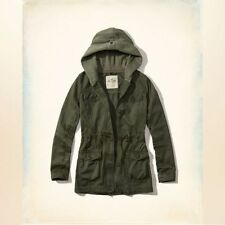 Hollister by Abercrombie women's twill parka utility fleece hood Jacket M/8-10