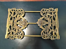 ART NOUVEAU BRASS PLATED EXPANDING BOOK RACK WITH FACES ON EACH END - UNMARKED