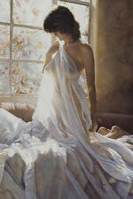 Delicate Touch by Steve Hanks Print Beautiful Sexy Nude On A Bed Fine Art Giclee