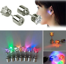 3 Pairs Christmas Light up LED Earrings Bling Diamond Ear Studs Dance Party Gift