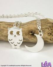 Animal Inspired Korean Style New Silver Plated Owl Bird w/ Moon Pendant Necklace
