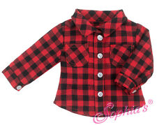 "Red/Black Plaid Camping Shirt for 18""  American Girl Doll Clothes Boy Dolls"